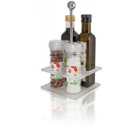 Tischmenage mit Essig, Öl, Salz u. Pfeffer